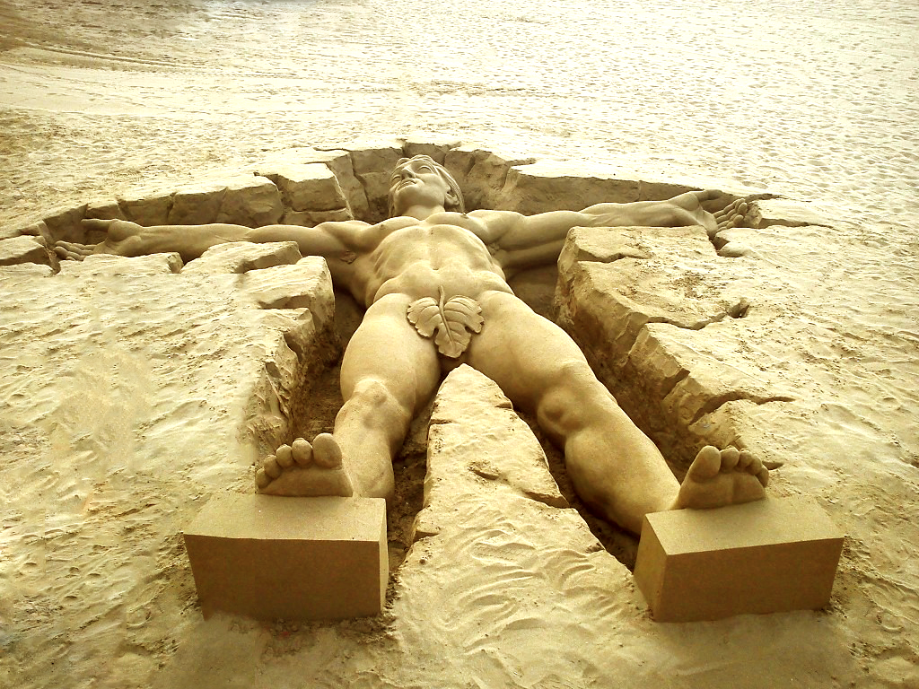 Anatomically correct sand sculpture.