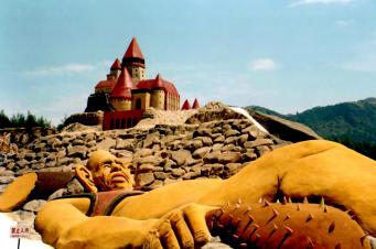 Huge dragon at china from naturally coloured sand.