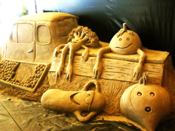 Happy vegetables resting on farm truck.