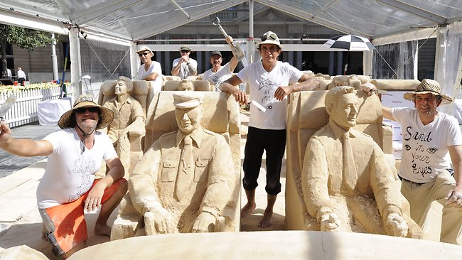 The sand sculpting team of Sand In Your Eyes.
