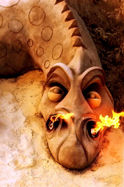 Dragon breathing fire.
