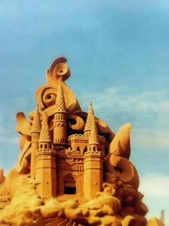 Large detailed sand castle.