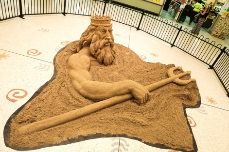 Expert sand sculpture of Neptune.