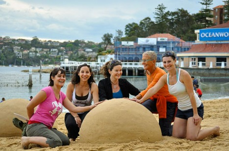 Sand sculpting workshops for vision impaired and blind people.