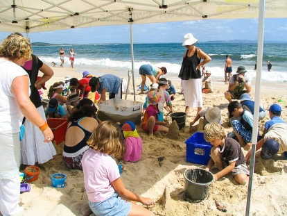Children's  sand sculpting workshop.